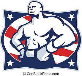 akimbo, amerykanka, bokser, mistrz, retro