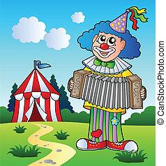 akordeon, interpretacja, klown, namiot