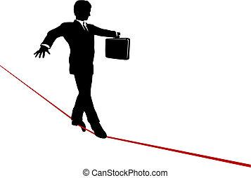 aktówka, handlowy, wagi, wysoki, linoskoczek, przechadzki, ryzykowny, człowiek
