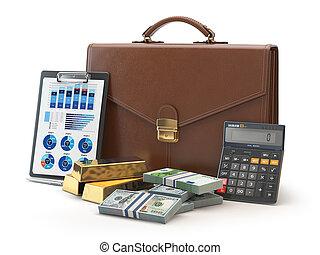 aktówka, złoty, kalkulator, pieniądze, concept., odizolowany, tło., teczka, biały, targ, pień