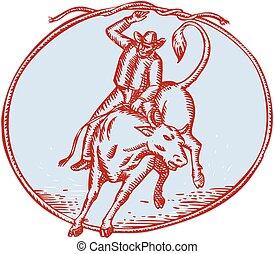 akwaforta, kowboj, rodeo, byk jeżdżenie, koło