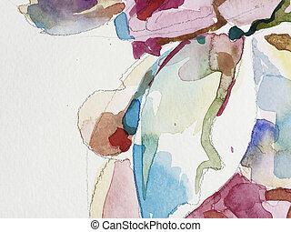 akwarela, abstrakcyjne malarstwo, tło, ręka