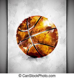 akwarela, basketball piłka