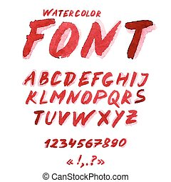 akwarela, handwritten, alfabet, symbols., takty muzyczne