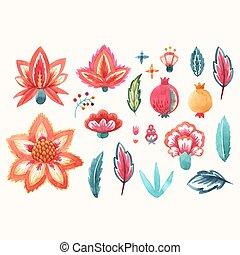 akwarela, kwiatowy, wektor, komplet