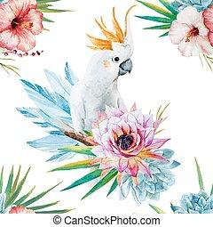 akwarela, próbka, kwiaty, papuga