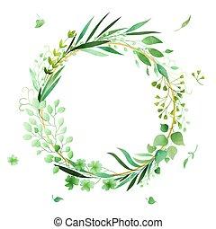 akwarela, robiony, hand-drawn, ułożyć, wieniec, vector., kwiatowy