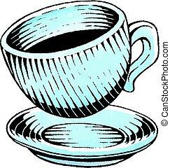 akwarela, rys, atrament, filiżanka do kawy