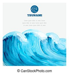 akwarela, tsunami, transoceaniczna woda