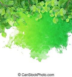 akwarela, zielone listowie, miejscowość
