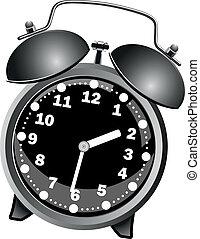 alarm, klasyk, czarnoskóry, zegar