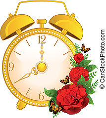 alarm, klasyk, tło, zegar