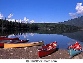 alberta, jezioro, canada., piramida