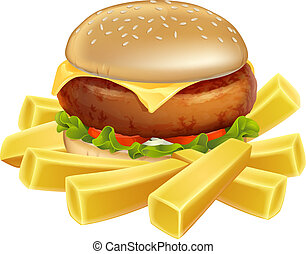 albo, drzazgi, hamburger, smaży, francuski