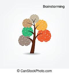 albo, handlowy, drzewo, ilustracja, mózg, środowiskowy, medyczny, wiedza, pojęcie