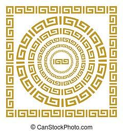 albo, klasyczny, ułożyć, prostokątny, grek, rzymski, wektor, okrągły