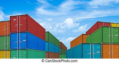 albo, kontenery, port, okrętowy, eksport, pod, import, stogi, ładunek