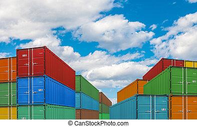 albo, port, przesyłka zbiornik, eksport, import, stogi, ładunek