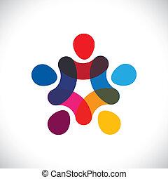 albo, współposiadanie, barwny, interpretacja, również, koła, dzierżawa, friendship-, pracownicy, solidarność, wektor, &, siła robocza, graphic., może, zjednoczenie, jedność, dzieciaki, to, ilustracja, razem, przedstawiać, pojęcie, etc
