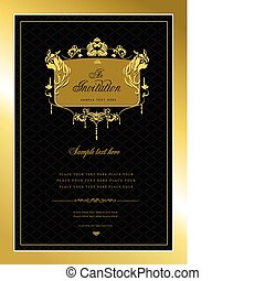 albo, zaproszenie, card., złoty, ślub, v