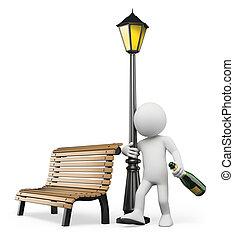alcoholism., pijany, ludzie., facet, biały, 3d