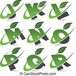 alfabet, 2, komplet, zielony, swoosh