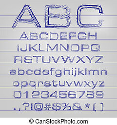 alfabet, abstrakcyjny, wektor, ilustracja, sketched