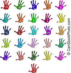 alfabet, barwny, ręka