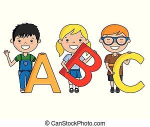 alfabet, dzieci, szczęśliwy
