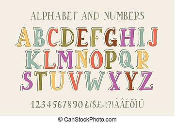 alfabet, font., retro