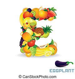 alfabet, fruit., wektor, e, litera