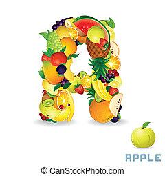 alfabet, fruit., wektor, litera