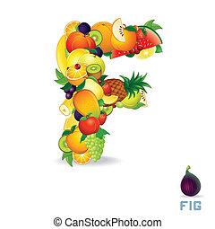 alfabet, fruit., wektor, litera f