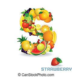 alfabet, fruit., wektor, s, litera