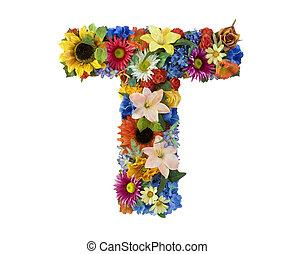 alfabet, kwiat, -, t