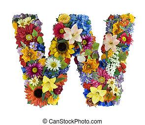 alfabet, kwiat, -, w