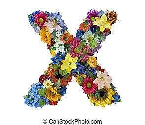 alfabet, kwiat, -, x