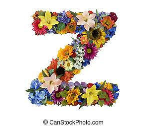 alfabet, kwiat, -, z