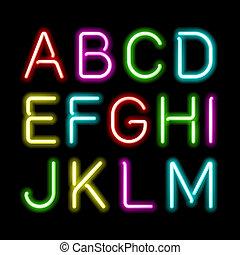 alfabet, neon, ogień
