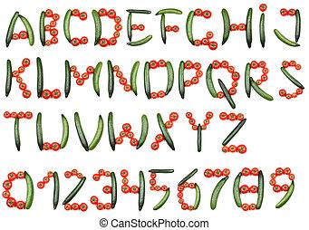 alfabet, pomidory, ogórki