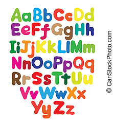 alfabet, ręka, bańka, rysunek, barwny