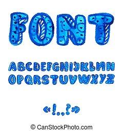alfabet, symbols., akwarela, handwritten