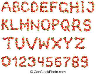 alfabet, truskawki