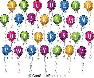 alfabet, urodziny, balony, szczęśliwy