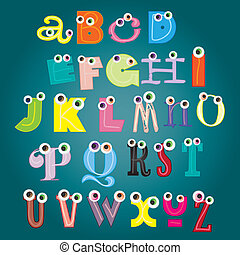 alfabet, wektor, komplet