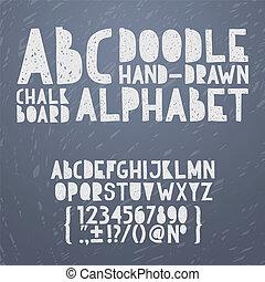 alfabet, zaciągnąć, grunge, abc, doodle, ilustracja, ręka, kreda, wektor, drapać, chrzcielnica, typ