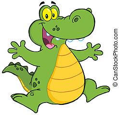 aligator, szczęśliwy
