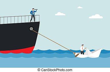 alliance., mały, ciągnący, ogromny, człowiek, płynie, ship., teleskop, łódka, papier, pojęcie, handlowy, teamwork, garnitur