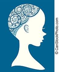 alopecia, dziewczyna, sylwetka, ilustracja