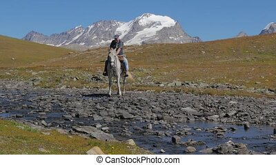 alpejski, 4k, krajobraz, kawalerzysta
